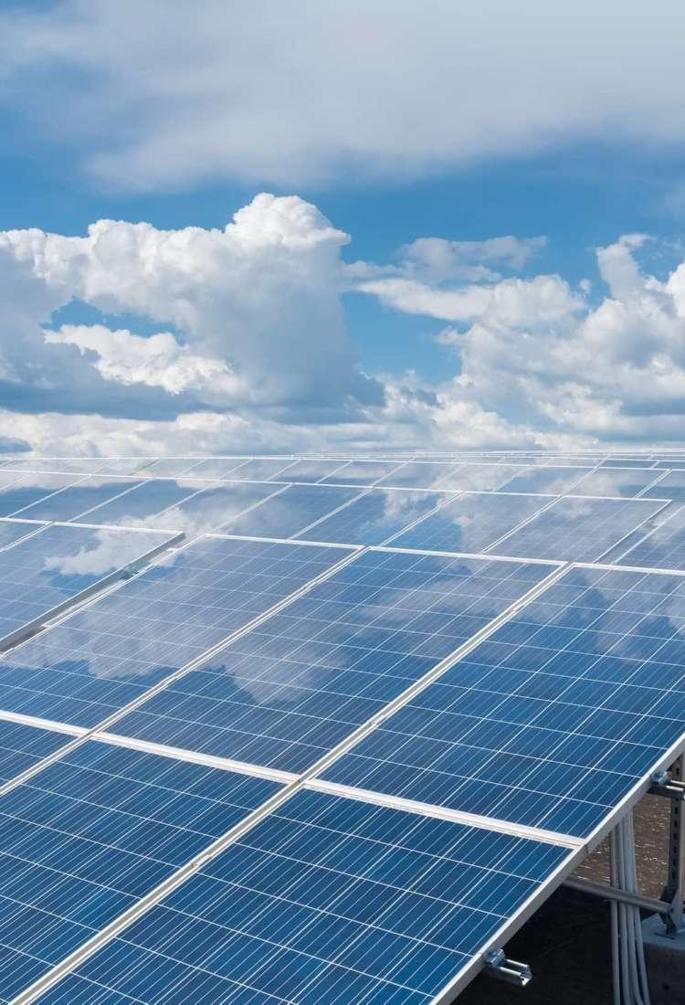 Roof solar panel reflected blue sky PWX5 FEB