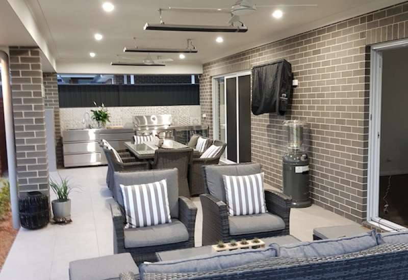 Electrical services - downlighting in outdoor entertaining area