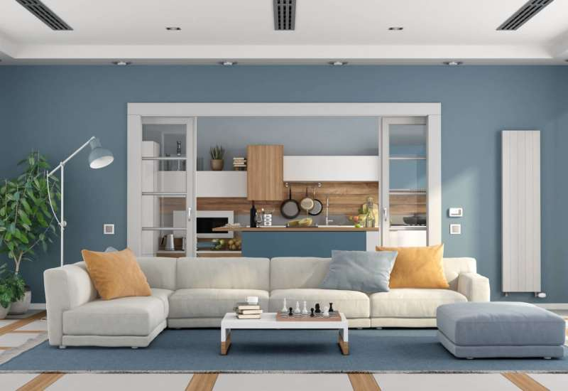 Living room with sofa and modern kitchen on SFALNX9