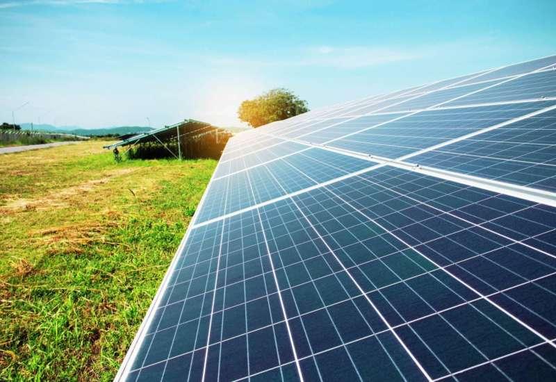 Solar panels on the lawn PMMGC9 M